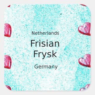 Pegatina Cuadrada Lengua del Frisian (Alemania y Países Bajos)
