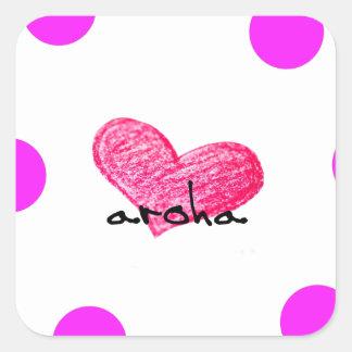 Pegatina Cuadrada Lengua maorí del diseño del amor