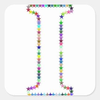 Pegatina Cuadrada Letra I de la estrella del arco iris