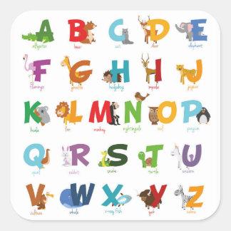 Pegatina Cuadrada Letras animales ilustradas coloridas del alfabeto