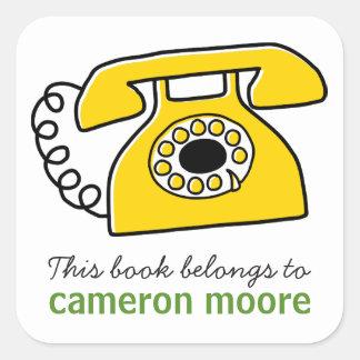 Pegatina Cuadrada Libro personalizado teléfono retro del bookplate