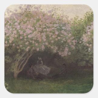 Pegatina Cuadrada Lilas de Claude Monet el |, tiempo gris, 1872