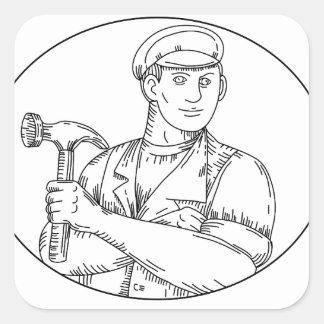 Pegatina Cuadrada Línea del martillo del carpintero del vintage mono
