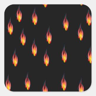 Pegatina Cuadrada Llamas del fuego