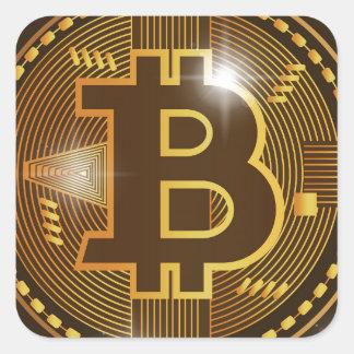 Pegatina Cuadrada Logotipo de Bitcoin y diseño frescos del gráfico