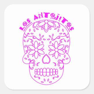 Pegatina Cuadrada Logotipo rosado del cráneo del azúcar