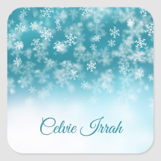 Pegatina Cuadrada Los copos de nieve elegantes personalizaron el
