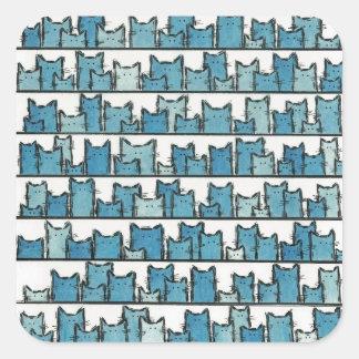 Pegatina Cuadrada Los gatitos no me hacen a los pegatinas azules