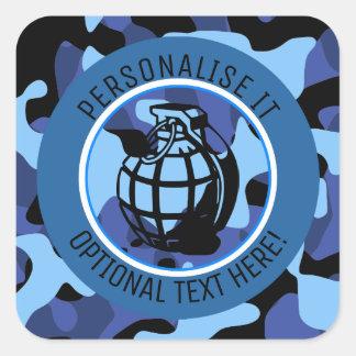 Pegatina Cuadrada Los militares azules camuflan con la granada