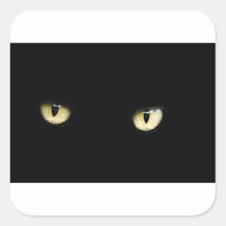 Pegatina Cuadrada Los ojos de gato negro
