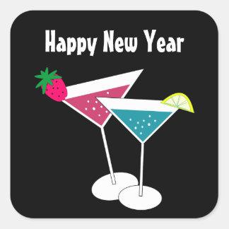 Pegatina Cuadrada Los pegatinas retros del Año Nuevo de los cócteles
