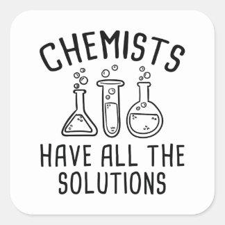 Pegatina Cuadrada Los químicos tienen todas las soluciones
