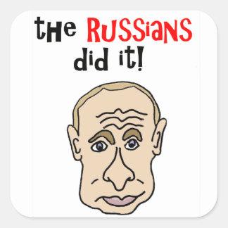 Pegatina Cuadrada Los rusos lo hicieron dibujo animado de Putin