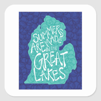 Pegatina Cuadrada Los veranos se hacen en los Great Lakes - azul