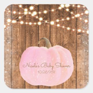 Pegatina Cuadrada Luces de madera rústicas de la chispa del otoño