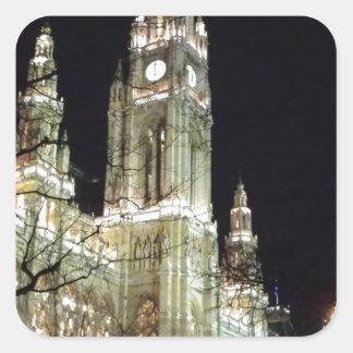 Pegatina Cuadrada Luces del castillo del navidad
