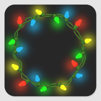 Pegatina Cuadrada Luces redondas del navidad