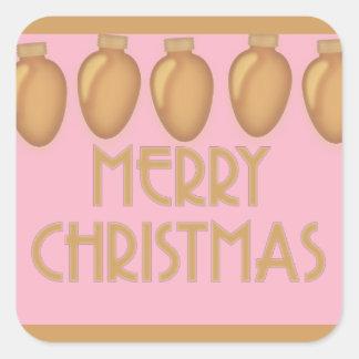 Pegatina Cuadrada Luces rosadas del oro de las Felices Navidad