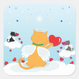 Pegatina Cuadrada Luz del día de los gatitos del ángel - con amor