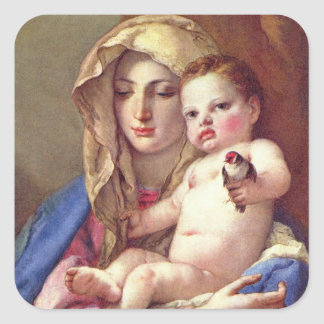 Pegatina Cuadrada Madonna del Goldfinch