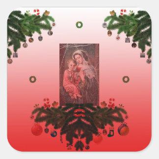 Pegatina Cuadrada Madonna y niño [navidad]