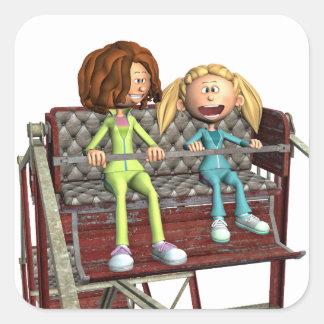 Pegatina Cuadrada Madre e hija del dibujo animado en una noria