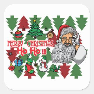 Pegatina Cuadrada Mana el navidad que la estación ahora está aquí