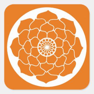 Pegatina Cuadrada Mandala anaranjada de Lotus