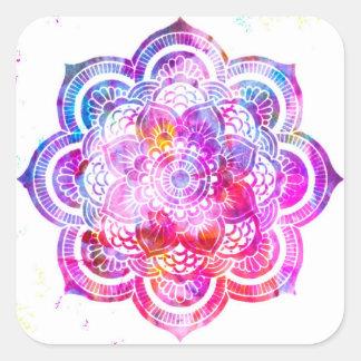 Pegatina Cuadrada Mandala de la flor