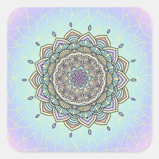 Pegatina Cuadrada Mandala en colores pastel ID359 del resplandor