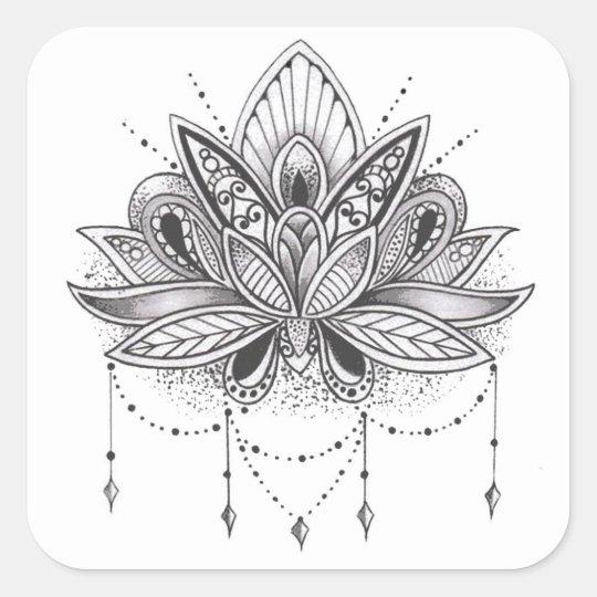 Pegatina Cuadrada Mandala flor