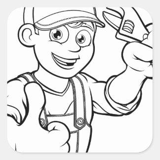 Pegatina Cuadrada Manitas del mecánico o del fontanero con el dibujo