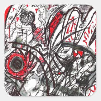 Pegatina Cuadrada Manos del dibujo de la pluma de la rabia