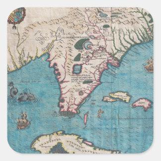 Pegatina Cuadrada Mapa antiguo de la Florida y de Cuba