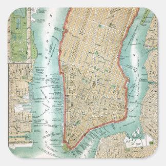 Pegatina Cuadrada Mapa antiguo del Lower Manhattan y del Central
