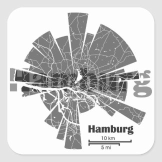 Pegatina Cuadrada Mapa de Hamburgo