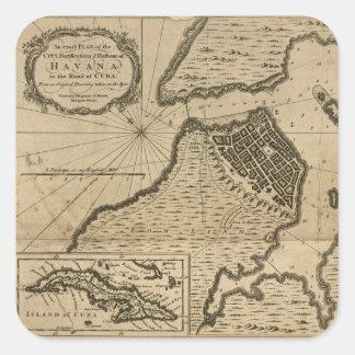 Pegatina Cuadrada Mapa de La Habana, Cuba (1762)