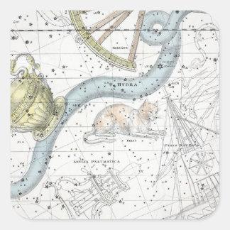 Pegatina Cuadrada Mapa de la placa XXVI de las constelaciones