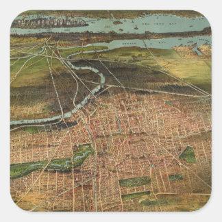 Pegatina Cuadrada Mapa de Newark 1916