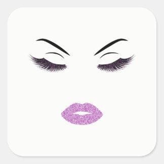 Pegatina Cuadrada Maquillaje con efecto del purpurina