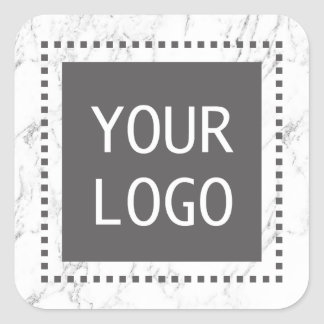 Pegatina Cuadrada Mármol blanco moderno del logotipo de encargo