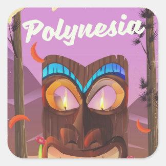 Pegatina Cuadrada Máscara de Polinesia Tiki