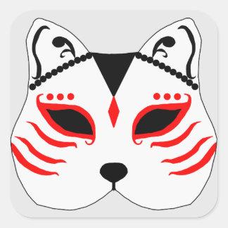 Pegatina Cuadrada Máscara japonesa del gato