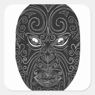 Pegatina Cuadrada Máscara maorí Scratchboard