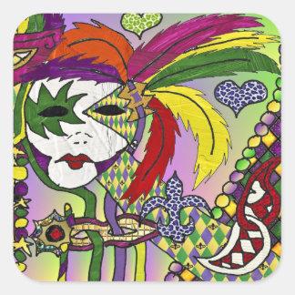 Pegatina Cuadrada Máscara psicodélica de la pluma del carnaval
