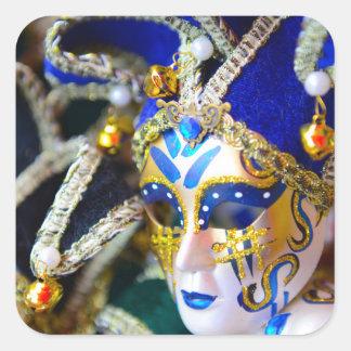 Pegatina Cuadrada Máscaras de la mascarada del carnaval en Venecia