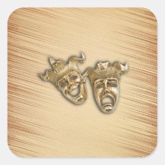 Pegatina Cuadrada Máscaras rústicas del teatro de la comedia y de la