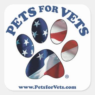 Pegatina Cuadrada Mascotas para los veterinarios