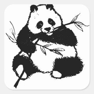 Pegatina Cuadrada Masticación de la panda