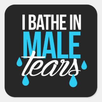 Pegatina Cuadrada Me baño en los rasgones masculinos --  blanco -